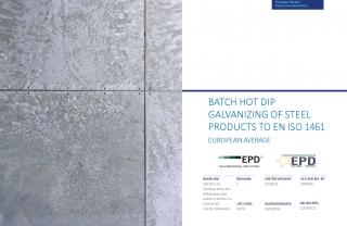 EPD for Batch Hot Dip Galvanizing of Steel Products to EN ISO 1461
